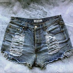 ✨ Mink Pink Distressed Denim Cutoff Shorts